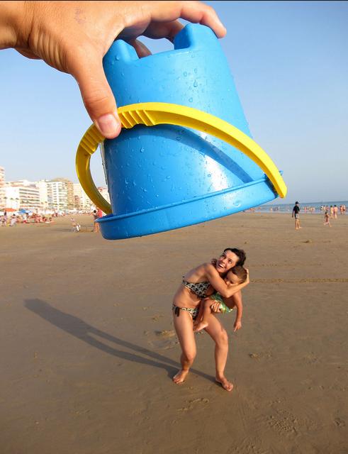 kreatív kép a tengerparton